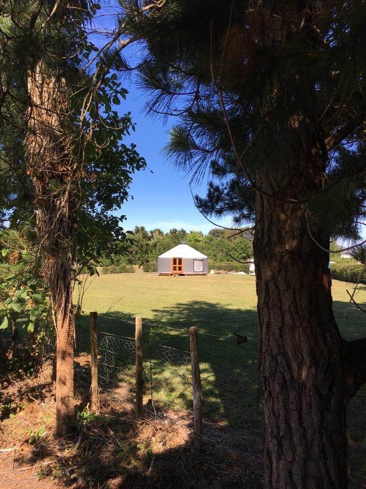 Our yurt accommodation in Greytown New Zealand, all closed in now.