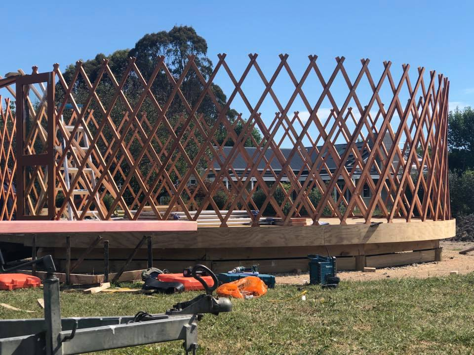 our luxury yurt accommodation in Greytown NeW Zealand begins to take shape