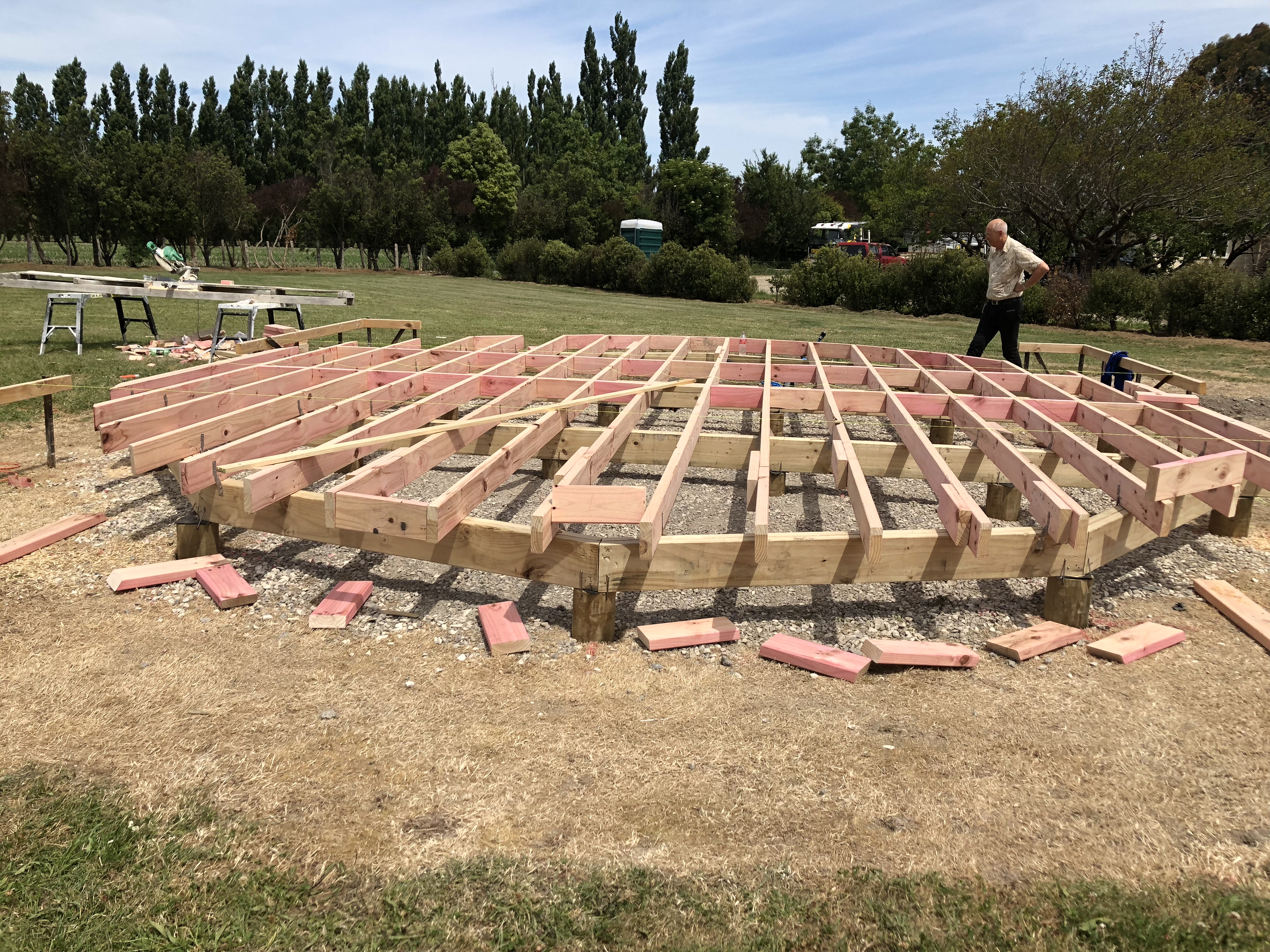 building our luxury yurt accommodation in Greytown NeW Zealand